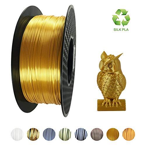 KEHUASHINA 3D Printer PLA Filament, 1.75mm, 3D Printing Material, 2.2 LBS (1KG) Filamento de bobina para impresoras 3D, Gold SILK PLA,pla de oro de seda