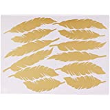 MagiDeal Gold/Silver/Black/White Feather Stickers Wall Decal Vinyl Kid Bedroom Nursery Decor Mural - Gold, As Described
