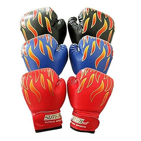 Gants d'Entraînement Muay-Thai en Cuir pour Enfants 3 à 12 ans Sports de Combat Boxe pour Sac de Sable Kickboxing (Noir)