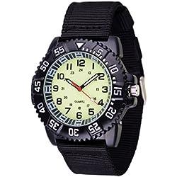 WOLFTEETH Wasserbeständigkeit Analog Quarz Canvas Band Sport Aviator Pilot Armee Militär für 12-jährige Teenager Junge Armbanduhr