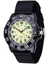 WOLFTEETH Resistencia al agua analógico Cuarzo beige Dial Negro banda de lona Luminoso aviador Piloto Ejército de 12 años de edad, adolescente reloj de pulsera # 3021