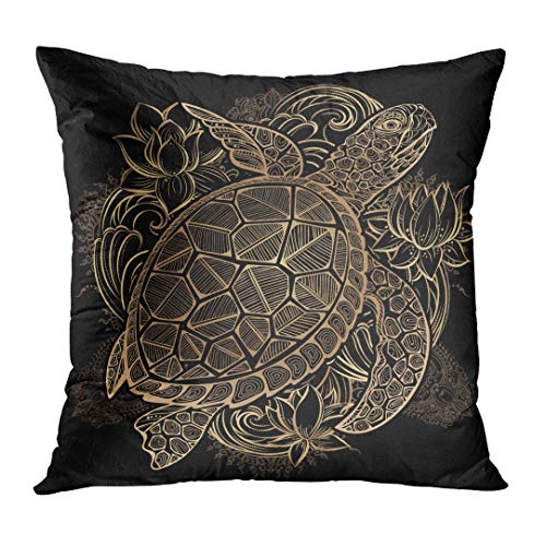 JIILWKIE Throw Pillow Cover Vintage Gold Sea Turtle and Lotus Flowers on Black Wedding Geometric Decorative Pillow Case Home Decor Square 18