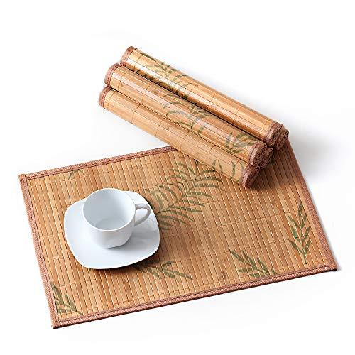 Lovecasa tovagliette americana bambù rettangolo tovagliette da tavola colazione pranzo lavabili, antiscivolo, antimacchia,resistenti al calore, set 6 pezzi tovaglietta