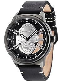 Policía Predator Hombre Reloj de cuarzo con Esfera Analógica Gris y Negro Correa de piel 14685jsb/61