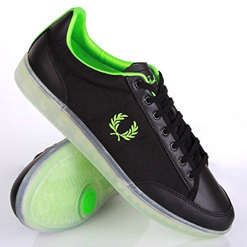 Fred Perry Soho Hopman Leather Nylon Black Green Schwarz