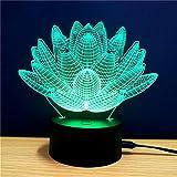 OUSENR Tischlampe Bunte Lotus Modell 3D-Led-Tischleuchte Mit 7 Farbe Transformation Touch Schalter Und Usb-Ladekabel