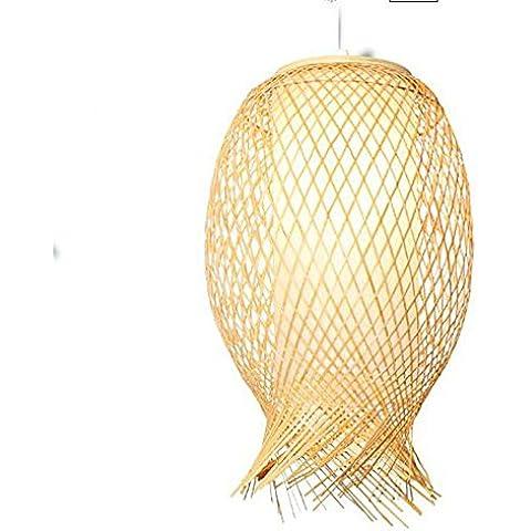 LED de bambú japonesa tejer Chino Coreano araña de jardín Sala de estar Restaurante dormitorio lámpara de araña [Eficiencia: A +]