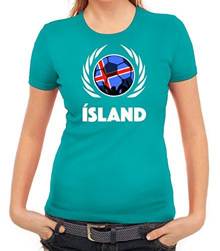 ShirtStreet Iceland Wappen Soccer Fussball WM Fanfest Gruppen Fan Wappen Damen T-Shirt Fußball Island karibikblau