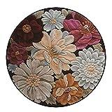 Loartee Vintage Teppich 3D Stereo Blume Weicher Samt Teppich Wohnzimmer Schlafzimmer Fußmatte Home Decor leicht zu reinigen, Textil, Multi, Round 160cm(Diameter:5.2 ft)