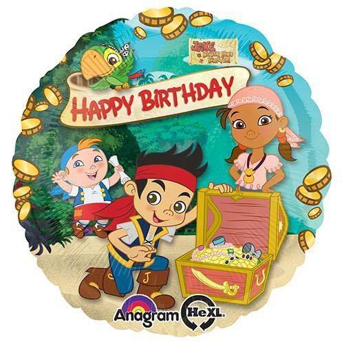 Anagram 29006 Jake & The Nimmerland Pirates Happy Birthday Folienballon, 45,7 cm, mehrfarbig (Birthday Jake Happy)