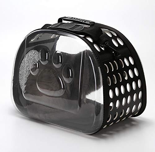 Faltbare Eva Haustiere Katze Transportbox Tasche, kleine Puppy Dog Cat Transparent Kennel Outdoor Travel Attitüde Shoulder Tote Case,Black,S - Kleine Shoulder Tote