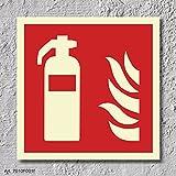Feuerlöscher Brandschutzzeichen Symbol Schild Nachleuchtend ASR A1.3 150 x 150 mm