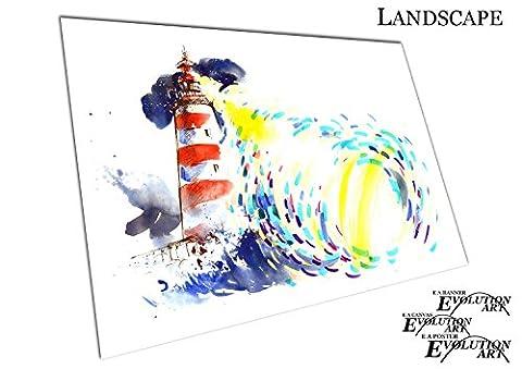 Küche & Badezimmer Banner Sea Searchlight Aquarell Leuchtturm - A0 Print Only