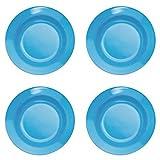 4 blaue Kunststoff-Teller, tief, 20 cm, aus Melamin