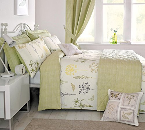 'Botanique' Super King Duvet Cover Set in Green, Includes: 1x Super King Duvet Cover and 2x Pillowcases Best Price and Cheapest