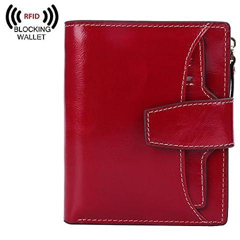 BIG SALE-AINIMOER Women's RFID Blocking Leather Small Compact Bi-fold Zipper Pocket Wallet Card Case