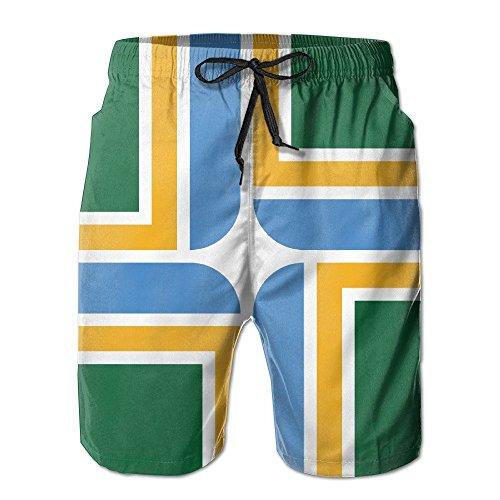 bikini bag Flag of Portland Oregon Men's Summer Beach Quick-Dry Surf Swim Trunks Boardshorts Cargo Pants -