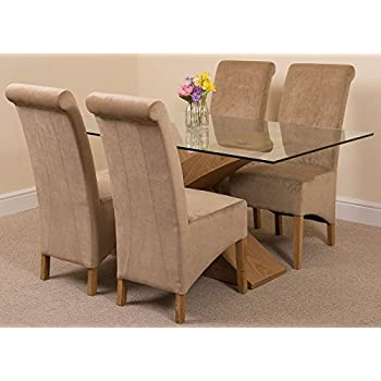 Valencia Small Oak 160cm Modern Glass Dining Set Table + 4 Beige Fabric Chairs