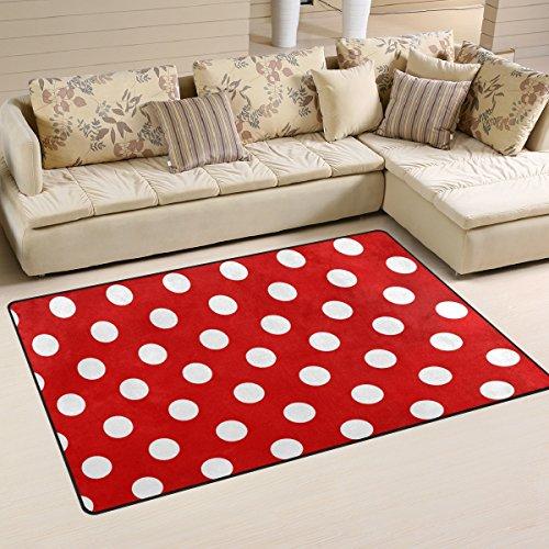 Use7 - Alfombra Antideslizante, diseño de Lunares, Color Rojo y Blanco, Tela, 100 x 150 cm(3' x 5' ft)