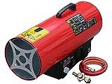 Rotek Gas-Direktheizer mit 50 kW Heizleistung und integriertem Thermostat, Rotek HG-50-230-TI im Set mit Druckregler, Schlauchbruchsicherung und Schlauch