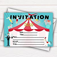 All-Ways Design Circus Acrobats Birthday Party Invitations Cards - pack of 20 - with envelopes, cute, glossy surface, funny, animals for kids children, birthday celebration