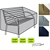 HomeStore Global Garden Bench Cover in Grey - Thick & Durable high-quality 600D Polyester Canvas with double stitched seams for extra strength,