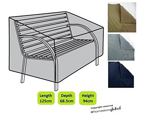 HomeStore Global Schutzhülle für Gartenbank (mit Runde Armlehnen) – Dicke & Hochwertiges strapazierfähiges 600D Polyester Canvas mit Doppel genähte Nähte für extra Stärke,...