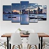 zayduo Leinwandbilder Bilder auf Poster Wandkunst Wohnzimmer Gedruckt Bilder 5 Panel Stadt See Boot Landschaft Moderne HD Rahmen Wohnkultur Leinwand Malerei-55 * 100cm