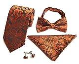 Herren Krawatte Set Krawatten Fliegen Einstecktücher Taschentuch Manschettenknöpfe Formal Geschäft Hochzeit Partei (Braun)