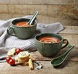 Store Indya, 8 Farben Handgefertigte Set von 2 Keramik Suppenschalen mit Griff fur Abendessen Nudeln Getreide Salat Salsa Pasta Snacks mit Loffel Tasse Muslischalen Kuche Tabletop Serveware (Grun)