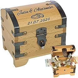 Geldgeschenke zur Hochzeit - Schatztruhe mit Gravur ==> 2 Namen, 1 Datum, 2 Ringe - personalisierte Hochzeitsgeschenke kaufen, Verpackung für Geldgeschenk