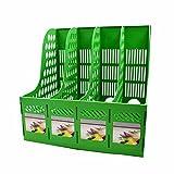SAYEEC Sturdy Desktop Quadruplicate Magazine Plastic Holders Frames File Dividers Document Cabinet Rack Display and Storage Organiser Box Green