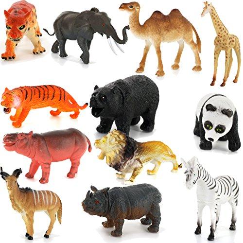 12pcs Plásticos PVC Animales Modelos Establecidos para Niños Juguetes de Regalo Multicolor
