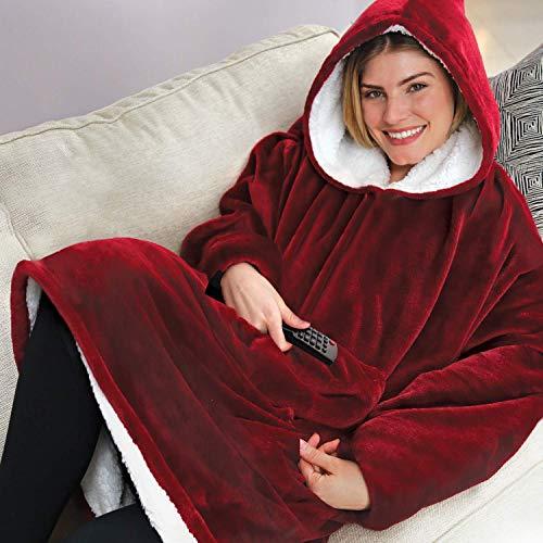 Ärmel Bett Jacke (Sherpa tragbare Bademantel-Decken, Fleece-Plüsch-Ärmel, TV-Überwürfe, superweich, warm, bequem, große Kapuzen-Bademantel, Weihnachtsgeschenke, für Erwachsene und Damen/Herren rot)