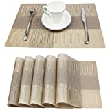 PVC Table Mats/Place Mats/Drawer Mats/Fridge Mats/Multipurpose Mats/Refrigerator Mats/Dinner Mats/Dinning Mats/Kitchen Place Mats, 30x45cm, 6 Piece Set-(T22X165465-IVORY)