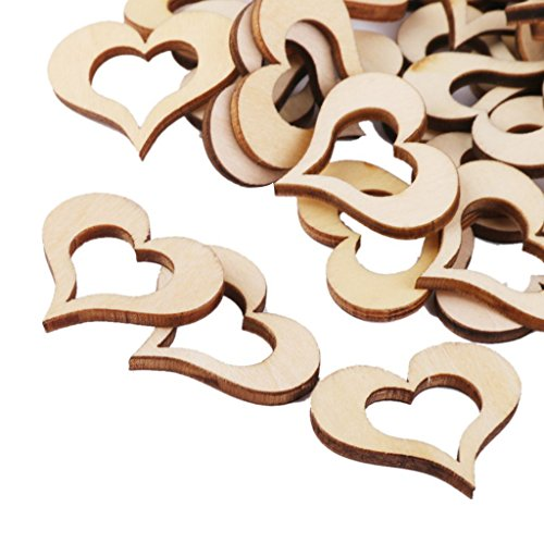 Qinlee 50 Pcs Wooden Hollow Heart Shape Embellishments Crafts Wedding Christmas Party Wood Ornaments 30mm