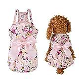 Hamkaw Hundegeschirr, süßes Blumenmuster, Prinzessin, Welpen, Katzen, Hundekleid, für kleine und mittelgroße Hunde, mit Schleife, Knoten