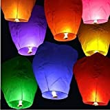 10 LARGE CHINESE SKY LANTERNS BAMBOO FRAME BIODEGRADABLE MIXED COLOURS