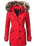 Navahoo Damen Baumwoll Winterparka Winterjacke Pauline (vegan hergestellt) Rot Gr. S