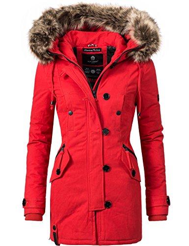 Navahoo Damen Baumwoll Winterparka Winterjacke Pauline (vegan hergestellt) Rot Gr. M