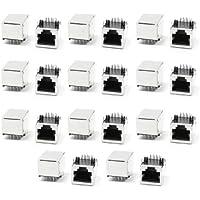 22 pezzi in acciaio inox 8P8C RJ45 PCB con sbilanciati connettori 20 x 15,5 x 14 mm - 22 Angle Pezzo