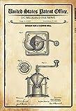 US Patent Kaffeemühle Coffee Mill 1885 Blechschild Schild Blech Metall Metal Tin Sign 20 x 30 cm