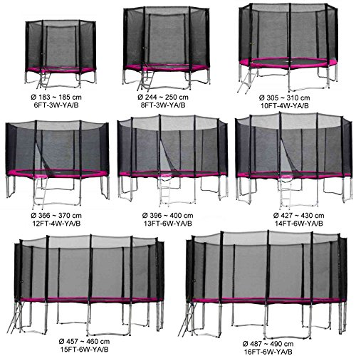 Gartentrampolin Kindertrampolin Trampolin 305 bis 310 cm pink komplettes Set mit Sicherheitsnetz und Einstiegsleiter ...