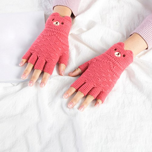ger Handschuhe Herbst und Winter Cartoon fehlende Finger Punkte gestrickte Wolle Handschuhe Studenten Tippen Handwärmer Hand Socken ( Color : 1 doubleRed , Size : M ) (Cartoon Handschuhe, Die Hände)