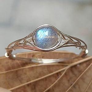 15.75#(15.75#-21.25# Available)Natürliche Mondlicht Labradorit Stein Sterling Silber String Wicklung Edelstein Handgefertigt Ring