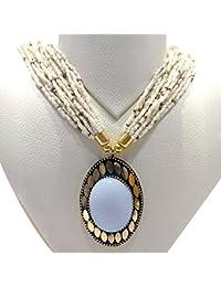 Ratnatraya White Stone Heavy Pendant Long Multilayered White Beads Necklace   Traditional Stylish Ethnic Jewellery...