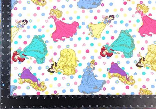 Disney Prinzessinnen Polka Dot Winceyette gebürstete Baumwolle Stoff A4 Muster