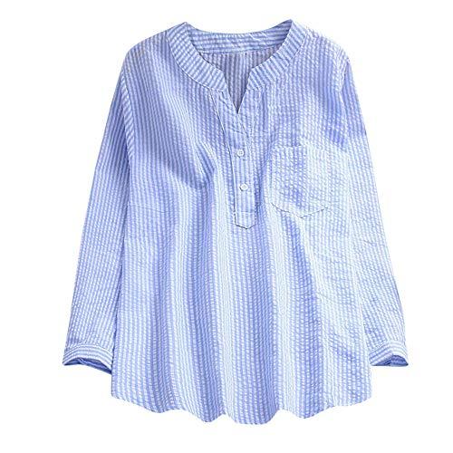 Geili Damen Frauen Herbst Große Größe V-Ausschnitt Striped Tasche Langarmshirt Hemd Lose Tunika Bluse Tops Oberteile Basictop T Shirt