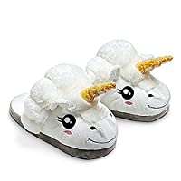 JYSPORT Unicorn Slippers Ladies Plush Lightweight Shoes Womens Memory Foam Polka Dot Home Slippers Suitable for Adult European Sizes 39-42 (U-white)