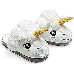 JYSPORT Pantuflas de felpa ligeras para mujer, diseño de unicornio y lunares, espuma de memoria, zapatillas de casa, para adultos, números europeos 39-42, U-white